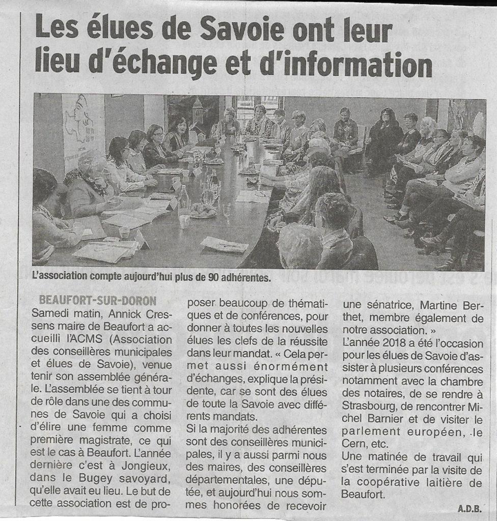 Le Samedi 10 Novembre la Présidente Evelyne SIMON et les membres du bureau Christiane NANTOIS,Jocelyne GUIDET, Christiane COMPAING ont convoqué les adhérentes pour l'Assemblée Générale annuelle de l'ACMS Femmes Élues de Savoie à la Mairie de Beaufort.